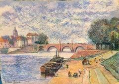 Le Pont Rouge, Post-Impressionist Style Pastel