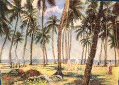 Le Palmerai de Brazza, Post-Impressionist Style Pastel