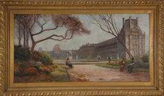 Vue du Louvre,  20th Century, Belle Epoque, Oil Painting of Paris