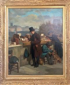 Chez les Boquinistes, 19th Century Realist Oil on Canvas