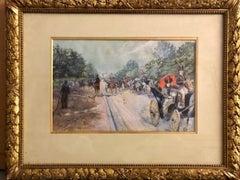 Avenue du Bois, 19th Century Gouache and watercolor