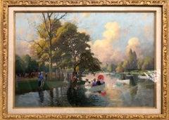 Le Lac au bois de Boulogne, Belle Epoque, 19th Century Pastel