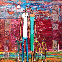 Alek Gerber, Couple with a bicycle, tenderness, Acrylic on canvas