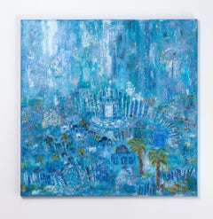Orli Ziv, Jerusalem, Blue atmosphere, Mystical city, pigment and oil on canvas