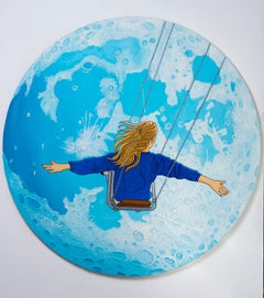 Shmu, Flying to the moon, Acrylic and mixed media on circular canvas