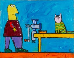 Leo Ray, In the kitchen, Acrylic on canvas