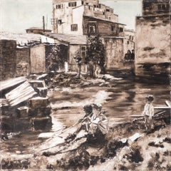 Ina Pesenka, Children in the 40's, oil on canvas
