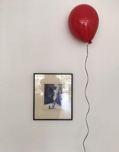 Red glossy ceramic balloon sculpture handmade for wall, ceiling installation