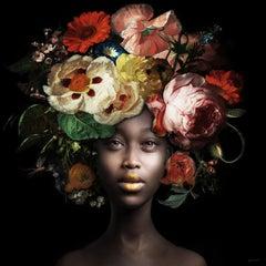 ''Fading Flowers Lemon'', Portrait of Girl with Flower Still-Life