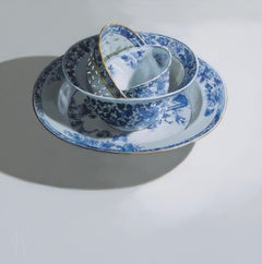 """Chinese porcelain stacking of bowls and plates on light"" Still-Life Painting"