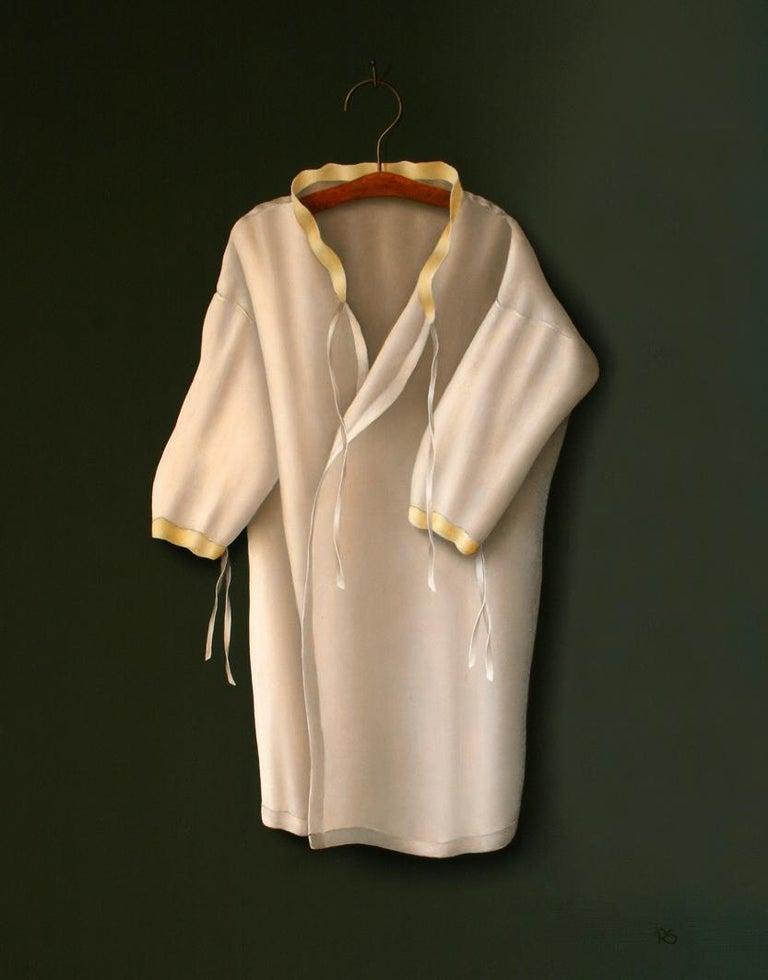 "René Smoorenburg Still-Life Painting - ""White vest with soft golden collar"" Dutch Fine Realist Painting of Still-Life"