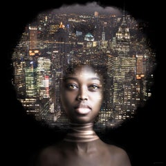 ''New York by Night'', Portrait of Girl and New York City