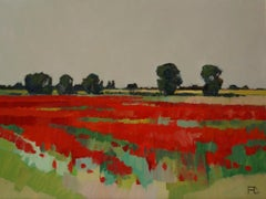 ''Poppies in the field'', Contemporary Dutch Oil Painting of a Landscape
