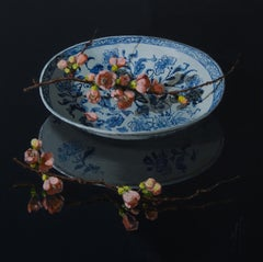 """Pink Blossom on blue Chinese Porcelain Plate'' Dutch Still-Life Painting"