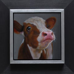 ''Cow 3'' Contemporary Dutch Oil Painting of a Cow