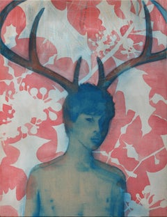 ''Holly'' Contemporary Dutch Painting of a Boy with Antlers, Portrait