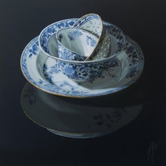 """Chinese porcelain stacking of bowls and plates on dark"" Still-Life Painting"
