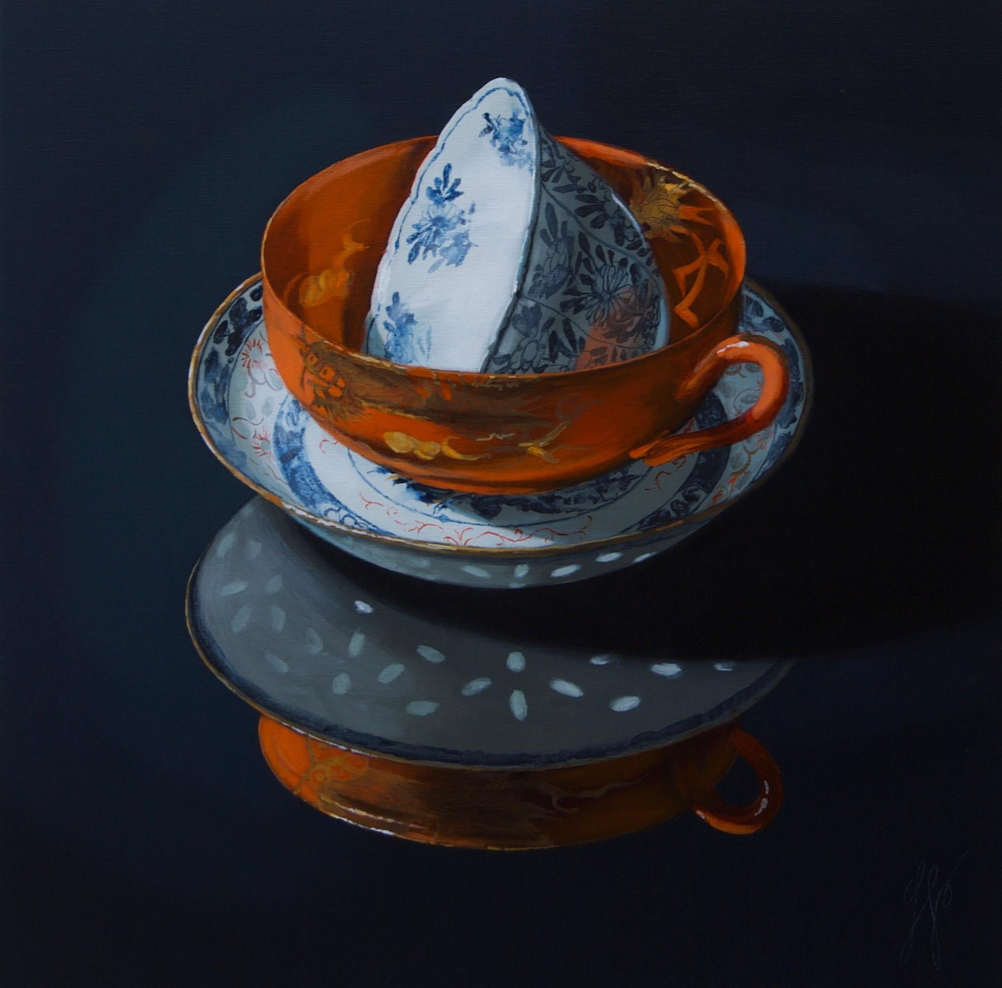 """""""Chinese porcelain stacking of orange and blue in the dark"""" Still-Life Painting"""