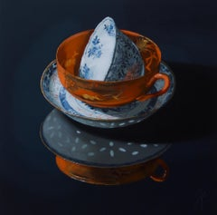 """Chinese porcelain stacking of orange and blue in the dark"" Still-Life Painting"