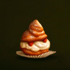 """Cream puff with strawberries"" Dutch Fine Realist Painting of Still-Life Pastry"
