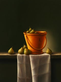 """Pears in a yellow bucket"" Dutch Fine Realist Oil Painting Still-Life"