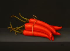 """""""Red chili peppers"""" Contemporary Dutch Fine Realist Oil Painting of Still-Life"""