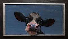 """Calf Portrait"" Contemporary Dutch Oil Painting of a Cow"