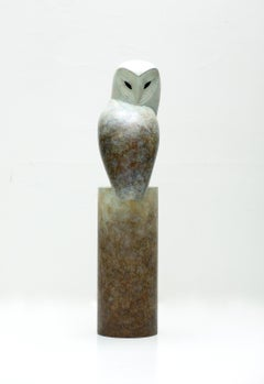 """Turnaround"" Contemporary Bronze Sculpture Portrait of an Owl"