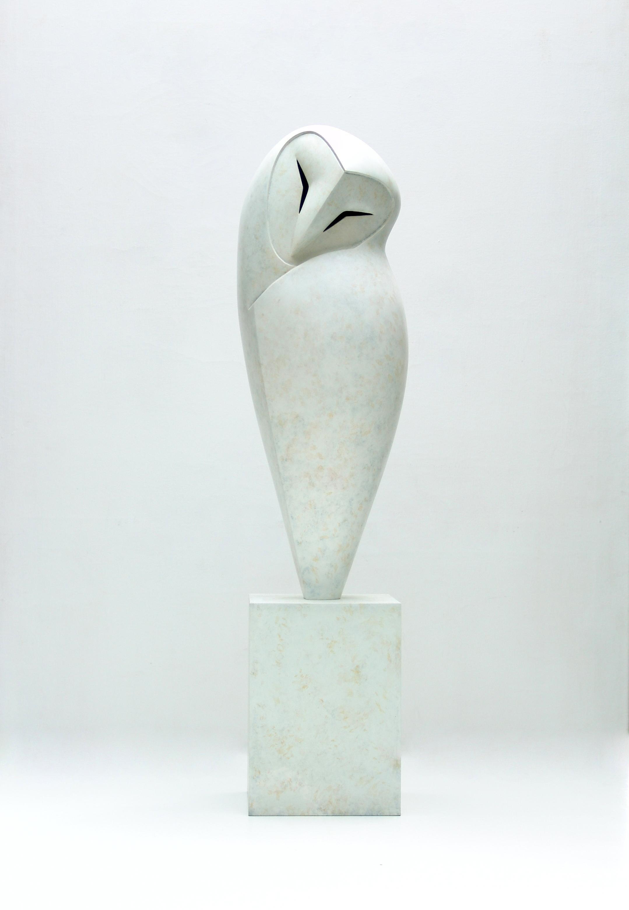 """Peaceful"" Contemporary Bronze Sculpture Portrait of a White Owl"