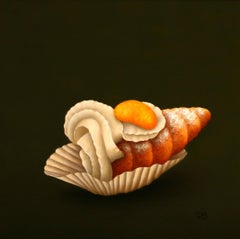 """Cream Cannoli"" Contemporary Dutch Fine Realist Painting of Still-Life Pastry"