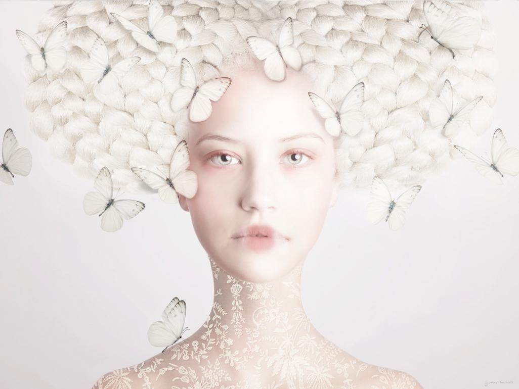 ''In the moment white'' Portrait of Girl with Butterflies, photography