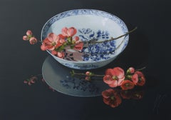 ''Pink Quince on a Plate (dark)'' Contemporary Still-Life of Chinese Porcelain