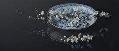 ''Wild Cherry on Porcelain Plate'' Contemporary Still-Life of Chinese Porcelain