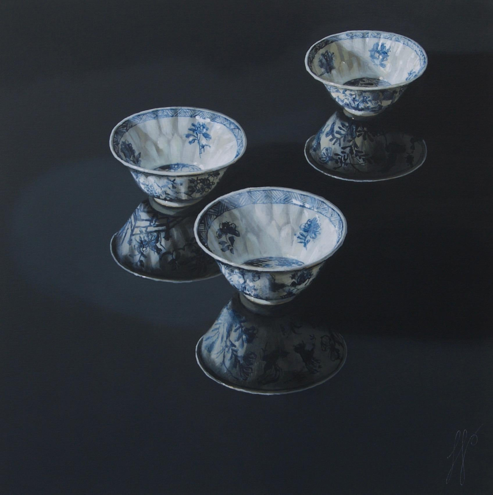 ''Three Together (dark)'' Contemporary Dutch Still-Life of Chinese Porcelain