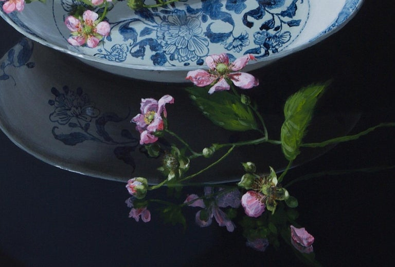 ''Chinese Plate with Blackberryblossom'' Contemporary Still Life Porcelain For Sale 1