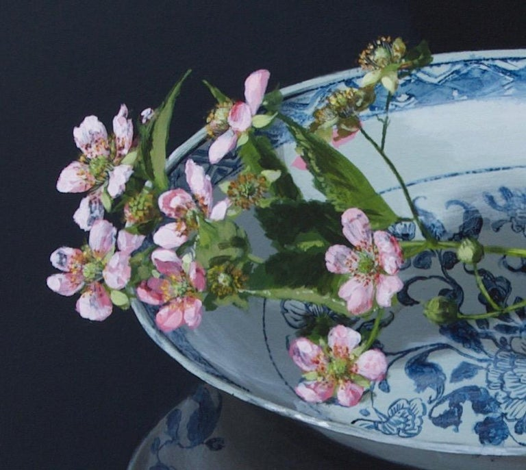 ''Chinese Plate with Blackberryblossom'' Contemporary Still Life Porcelain For Sale 2