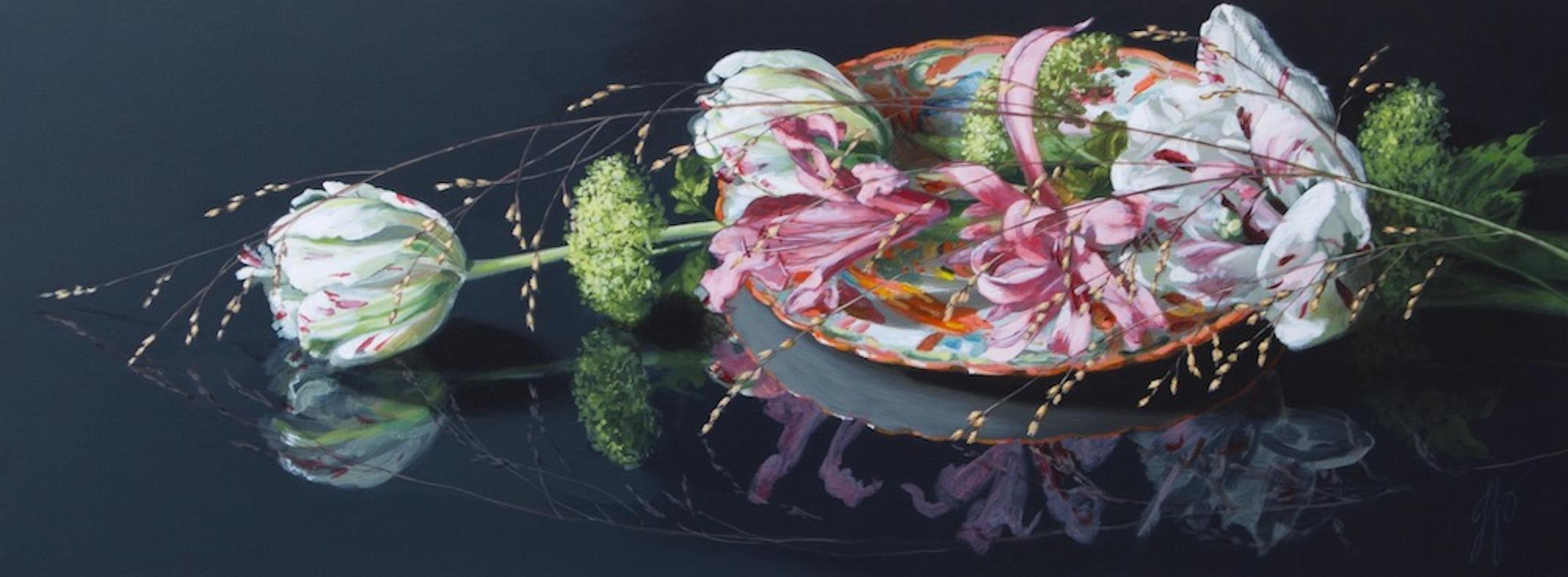 ''Bouquet with Tulips'' Contemporary Still Life with Porcelain and Flowers