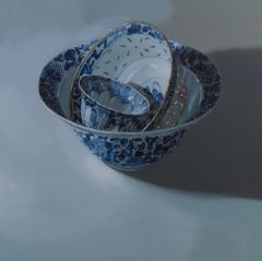 ''3 Bowls (light)'', Dutch Contemporary Still Life with Chinese Porcelain
