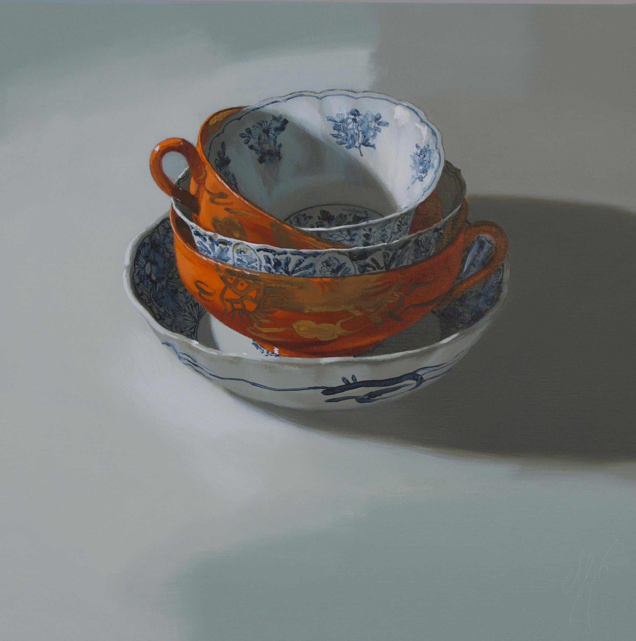''Stacking Orange and Blue'', Dutch Contemporary Still Life with Porcelain