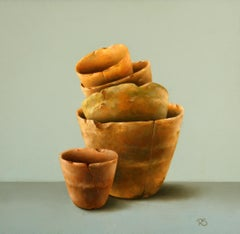 """Flower Pots"" Contemporary Fine Dutch Realist Still-Life Painting of Ceramics"