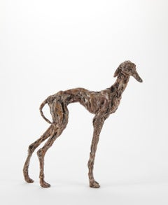 ''Galgo'', Contemporary Bronze Sculpture Portrait of a Spanish Greyhound Dog