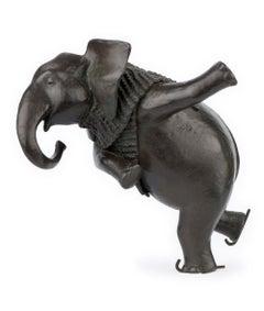 ''Ice Skating Elephant'', Contemporary Bronze Sculpture Portrait of an Elephant