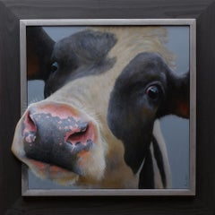 """Calf Portrait"" Contemporary Dutch Oil Painting of a Cow"