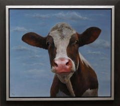 """Summer"" Contemporary Dutch Oil Painting of a Cow"