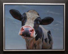 """Curious"" Contemporary Dutch Oil Painting of a Cow"