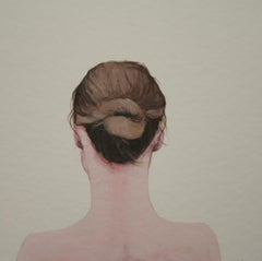 """Young Female with Bun"" Contemporary Portrait of a Girl with Bun"
