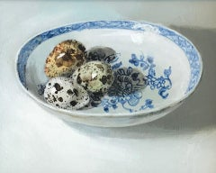 """Quail eggs on Chinese porcelain plate"" Contemporary Dutch Still-Life Painting"