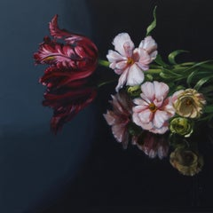 ''Crowfoot and Tulip'', Dutch Contemporary Still Life with Flowers