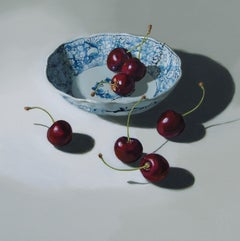 ''Cherries on Light'', Contemporary Still Life Porcelain with Fruit