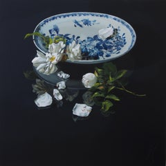 ''Snow white'' Dutch Contemporary Still Life with Porcelain and Flowers
